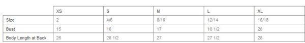 tank top sizing chart